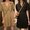 ワンピース プリーツスカート ラペル 韓国ファッション レディース ミニワンピース ガーリー