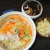 白菜豚バラの中華炒め、ひじき、味噌汁