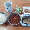 焼き鯖と納豆と玉葱と豆腐の赤だし