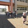 地震避難訓練② 二次避難 運動場へ