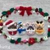ベリーがいっぱい!クリスマスのねこの額飾り