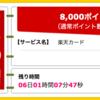 【ハピタス】楽天カードで8,000pt(7,200ANAマイル)! さらに7,000円相当ポイントプレゼントキャンペーンも♪