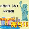 【8/8 NY時間】ユーロ円の1時間足レンジブレイクに注目!!