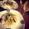 夏休み明けにピッタリ!鯛とアスパラの昆布〆チラシとワイン【お寿司とワイン】