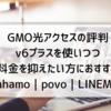 GMO光アクセスの評判 v6プラスを使いつつ料金を抑えたい方におすすめ|ahamo|povo|LINEMO|