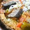 秋刀魚のパエリア、トマト味
