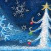 チョークアート「初雪のクリスマス」