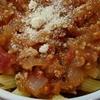トマト玉ねぎ挽肉パスタ