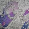 1】プリズマカラー色鉛筆で紫系夜空を目指して塗ってみました・ビューティフル・ドレスより