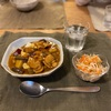 カレーライス、野菜の千切り甘酢漬け