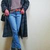 トレンドキーワード1「テーラリング」 Mila Owenのグレンチェックのコートとデニムのコーデ