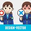 警察官(女性・冬服)・婦警のOK・NGのイラスト素材・商用無料(PNG)