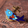 USAヴィンテージピンバッジ|十字架と魚イクトゥスクリスチャンフィッシュブローチピンズ聖品 [ACS-19-003]