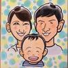 色紙サイズの家族3人の似顔絵