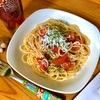 今日のお昼ご飯はシラスとトマトのペペロンチーノ