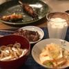 素うどん、やきとり、厚揚げと白菜大根の煮物