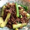 胡瓜とひき肉の柚子七味炒め