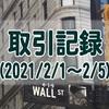 2021/2/1週の米国株オプション取引(確定利益$1,150、含み損$-1,498)