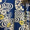 きもの(絽) ブルー地・観世水と秋草丸紋柄 小紋(千總)