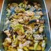 鶏肉と丸ズッキーニ、ジャンボマッシュルームの塩旨煮