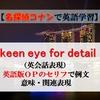 【名探偵コナンの英語】keen eye for detailの意味、英語版OPのセリフで例文、関連表現など(英会話・英語表現)【マンガで英語学習】