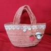 セリアのカラー麻ひもで、バッグを編みました