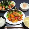 酢豚と新玉スライスと海苔サラダ✨