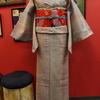パステルストライプ紬×朱色地鶴と桜お仕立て上がり名古屋帯