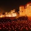 リメンブランス・デーでロンドン塔に1万個のトーチ~赤いポピーの花を身に付ける人々