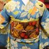 水色地桜小紋×さくらんぼ名古屋帯