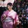 週末上海閔行体育公園付近で桜と海棠ポートレート動画・和服編