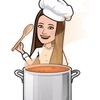 汗をかきながらも薬膳スープを作る