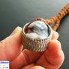 レア・希少!ぷっくりかわいい高品質ヒマラヤ産水晶リンガム×9面ルドラクシャの高品質ルドラクシャマーラーペンダント(菩提樹の実)全チャクラ対応
