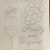 ぶどうとワインのチョークアート