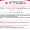 Visi dan Misi Pembangunan Nasional Indonesia