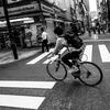 自転車が目の前を横切ってゆく