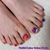 SMAP 2トップカラーで♡赤と青のアシメなお正月ネイル☆