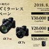 最大30,000円をキャッシュバック!!「ミラーレス時代のαフルサイズミラーレスキャンペーン」。