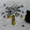 1】ダイソーイラストマーカー(100均コピック)+黒色鉛筆で塗ってみています・パズドラ塗り絵より