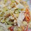 蒸し鶏とナムプラーペースト入り野菜の卵炒め