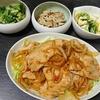 豚丼、カンタン酢漬け2種、エリンギバター炒め、味噌汁