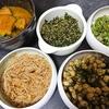 七草粥、大豆青のり炒め、かぼちゃの煮物、なめたけ、大根葉ふりかけ、味噌汁