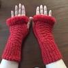 ファーな手袋 完成編(と蛇の足で編み針入れ作り方)