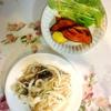 秋刀魚マリネ、トマトビーンズ、素揚げ、リンゴ