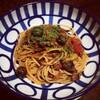自家製ツナとアンチョビのプッタネスカ風スパゲッティ