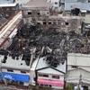 北九州・商店街火災 8棟全焼、9時間後に鎮火 女性軽症