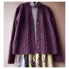 縄編み模様のカーディガン