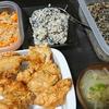 唐揚げ、卯の花と白和え、切り干し鶏ガラ炒め、味噌汁