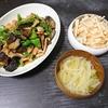 豚味噌なす炒め、吸い物、大根サラダ