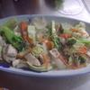 幸運な病のレシピ( 1743 )朝:ブロッコリーと鶏肉の炒め(八宝菜風)、カボチャ、鮭、味噌汁、マユのご飯